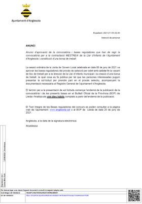 CONVOCATÒRIA PER LA CONTRACTACIÓ MESTRE/A DE LA LLAR D'INFANTS