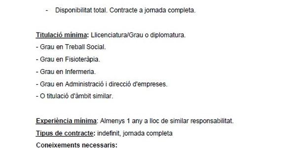 OFERTA DE TREBALL RESIDENCIA I CENTRE DE DIA D'ANGLESOLA