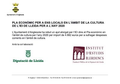 Pla econòmic per ens locals en l'àmbit de cultura any 2020